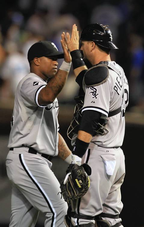 Two of the Sox hitting heroes Dayan Viciedo and A.J. Pierzynski after Saturday night's win.
