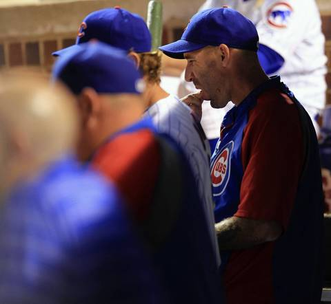 Cubs manager Dale Sveum tries a new stick of gum during a bad 8th inning.