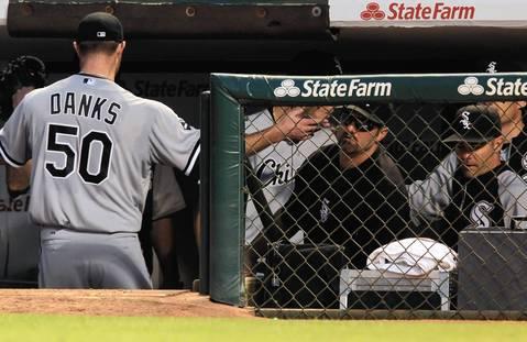 Sox starter John Danks leaves the game with Paul Konerko waiting in the 7th.