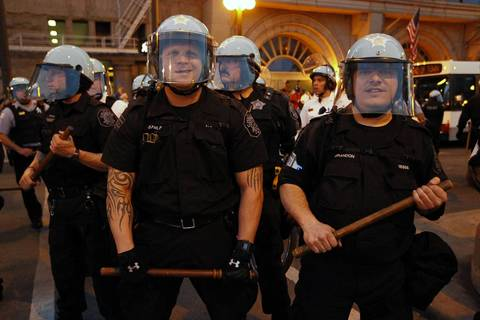 Chicago Police make a stand at Balbo and Michigan Avenue in Chicago as the anti-NATO march continued on into Saturday evening.