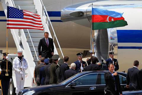 President of Azerbiaijan Ilham Aliyev arrives at Chicago O'Hare International Airport for the start of the NATO Summit.