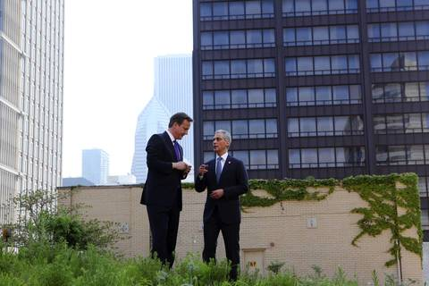 Mayor Rahm Emanuel tours the City Hall rooftop garden with British Prime Minister David Cameron prior to the start of the NATO summit.