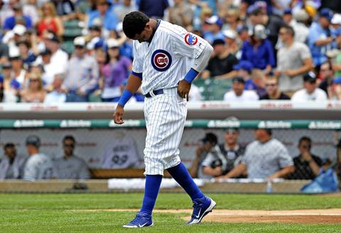 Starlin Castro strikes out to end the first inning.