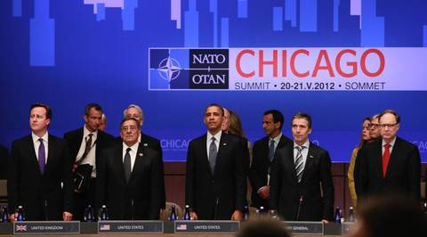 From left, British Prime Minister David Cameron, U.S. Defense Minsiter Leon Panetta, U.S. President Barack Obama, Secretary General Anders Fogh Rasmussen and Deputy Secretary General Ambassador Alexander Vershbow at the opening session of the 2012 NATO Summit at McCormick Place.