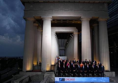 NATO leaders stand at Soldier Field in Chicago for the NATO family photo after day one of the 2012 NATO Summit.