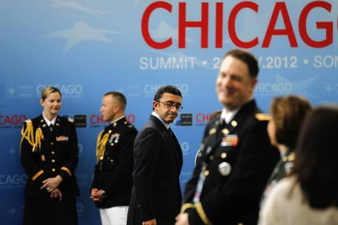 United Arab Emirates Minister for Foreign Affairs HH Sheikh Abdullah bin Zayed bin Sultan Al Nahyan arrives for an International Security Assistance Force meeting.