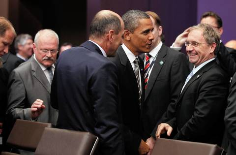 President Obama arrives for a Partners Meeting at the 2012 NATO Summit at McCormick Place in Chicago.