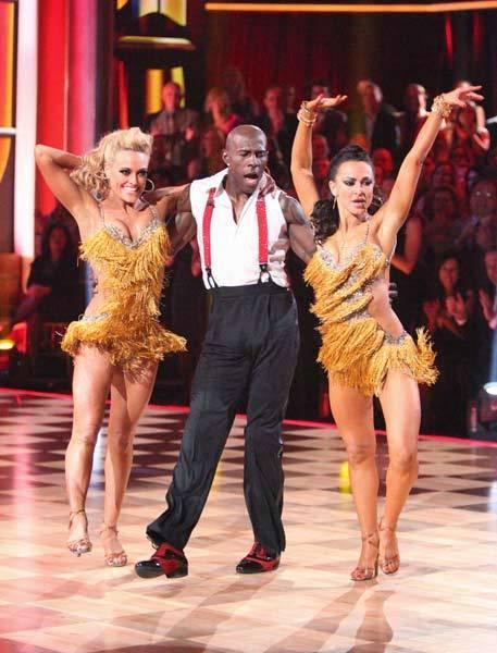 Donald Driver, Peta Murgatroyd and Karina Smirnoff compete in the Trio dance.
