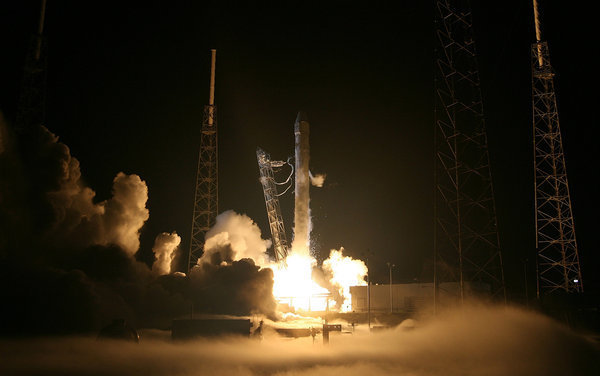 A view from inside SpaceX launch pad. Falcon9 rocket blasts off on a mission to ISS.