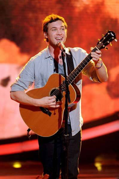 "Phillip Phillips performs in front of the judges on ""American Idol"" on May 16."