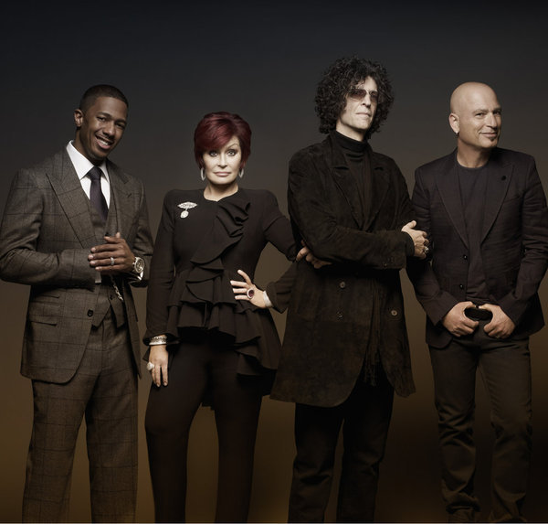 Pictured: (l-r) Nick Cannon, Sharon Osbourne, Howard Stern, Howie Mandel