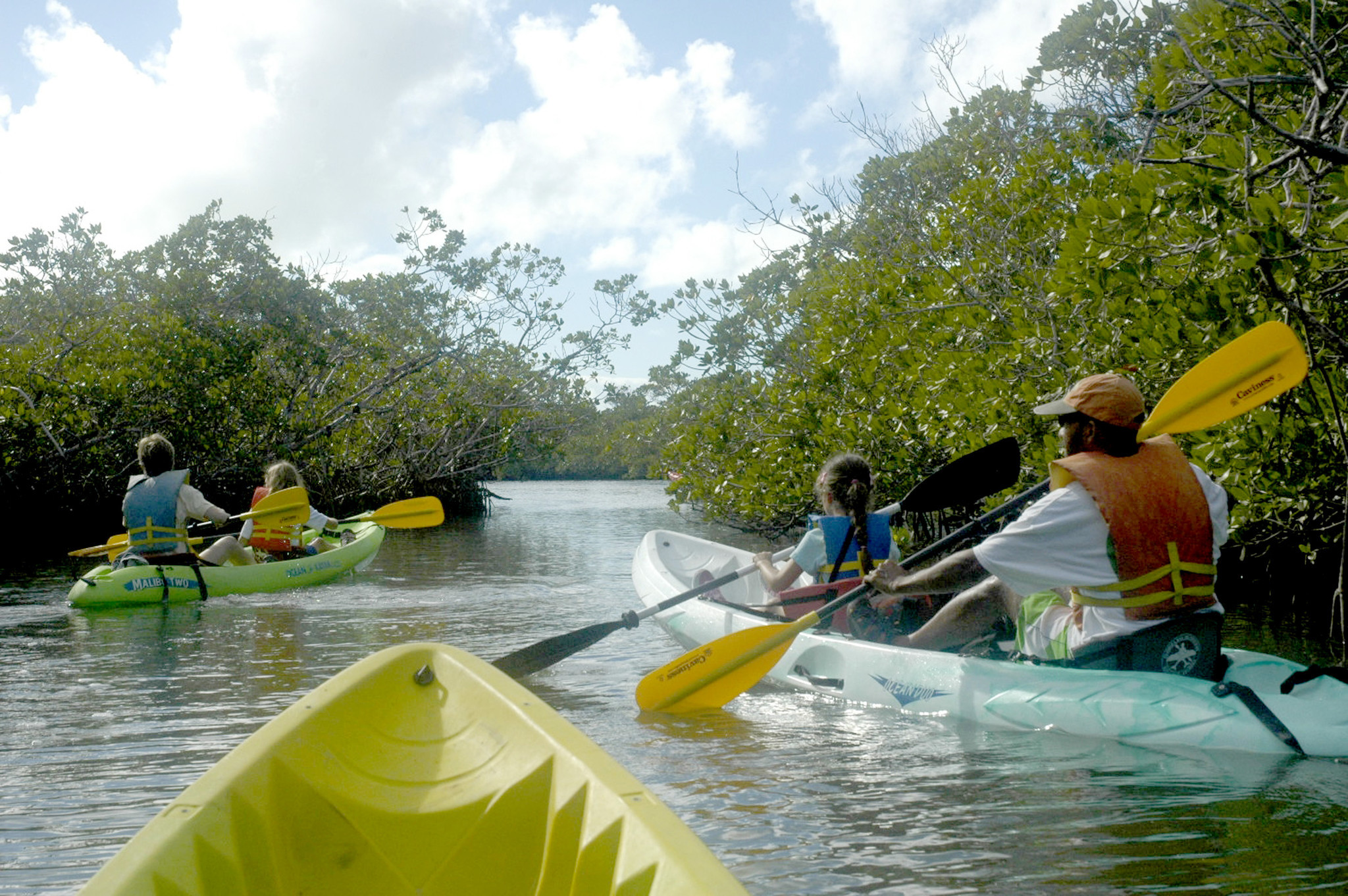 The Keller family of Washington, D.C., explores the mangrove creeks at John Pennekamp Coral Reef State Park in Key Largo, Florida.