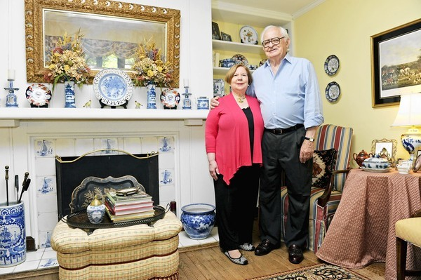 John and Leila Juracek in the living room of their Tudor-style home in Homeland.