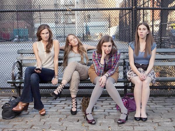 """The cast of """"Girls"""": Allison Williams, left, Jemima Kirke, Lena Dunham and Zosia Mamet."""