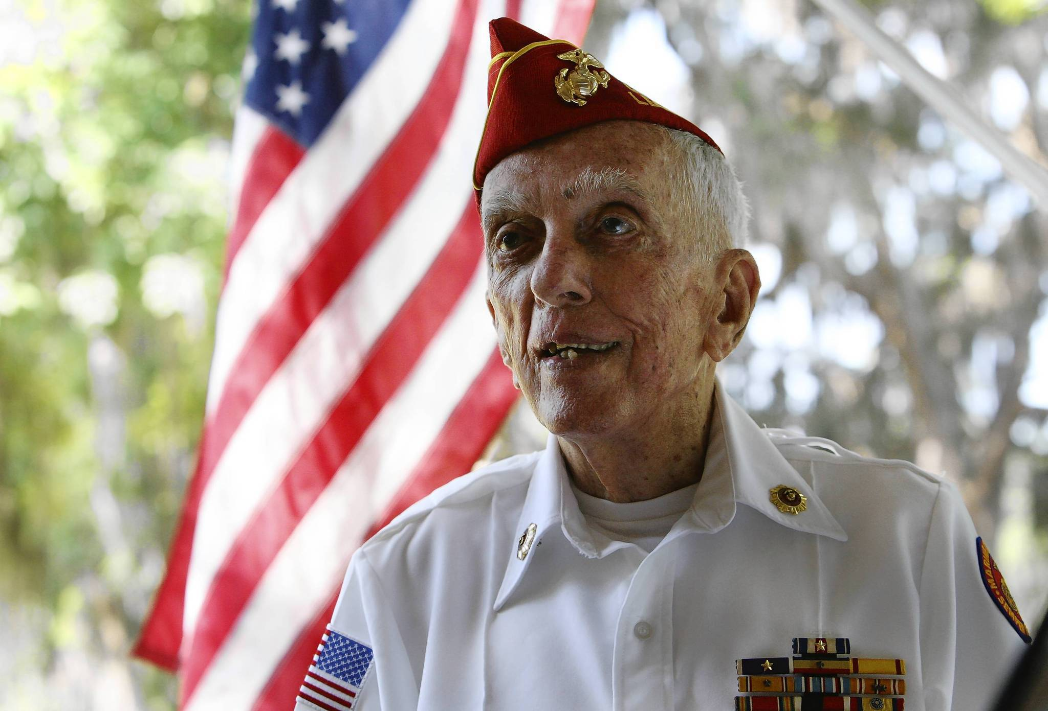 Bill Cumbaa, poses for a portrait at his home in Leesburg on Tuesday, May 8, 2012. Cumbaa, a Marine Lieutenant  took part in the Battle of Okinawa - the final and one of the bloodiest battles of World War II.  (Tom Benitez/Orlando Sentinel)