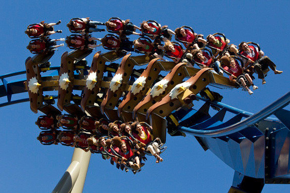 Riders navigate a turn on the Wild Eagle winged coaster built by Swiss-based Bolliger & Mabillard at Tennessee's Dollywood theme park.