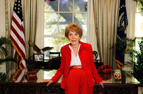 Former first lady Nancy Reagan waits to greet Republican presidential candidates in a replica of the Oval Office at the Ronald Reagan Presidential Library, before the Reagan Centennial GOP presidential primary debate in Simi Valley, California September 7, 2011.