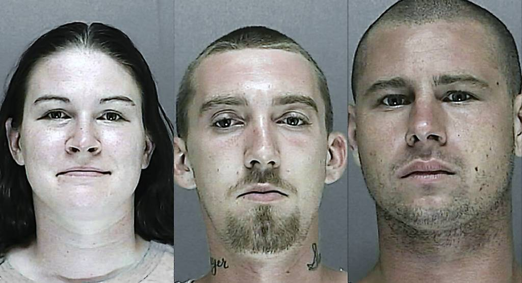 Shantel Stearns, 23, Ernest Sawyer, 23, and Brent Dobbs, 24, were nabbed by Volusia County deputy sheriffs for allegedly trying to steal copper and industrial goods.