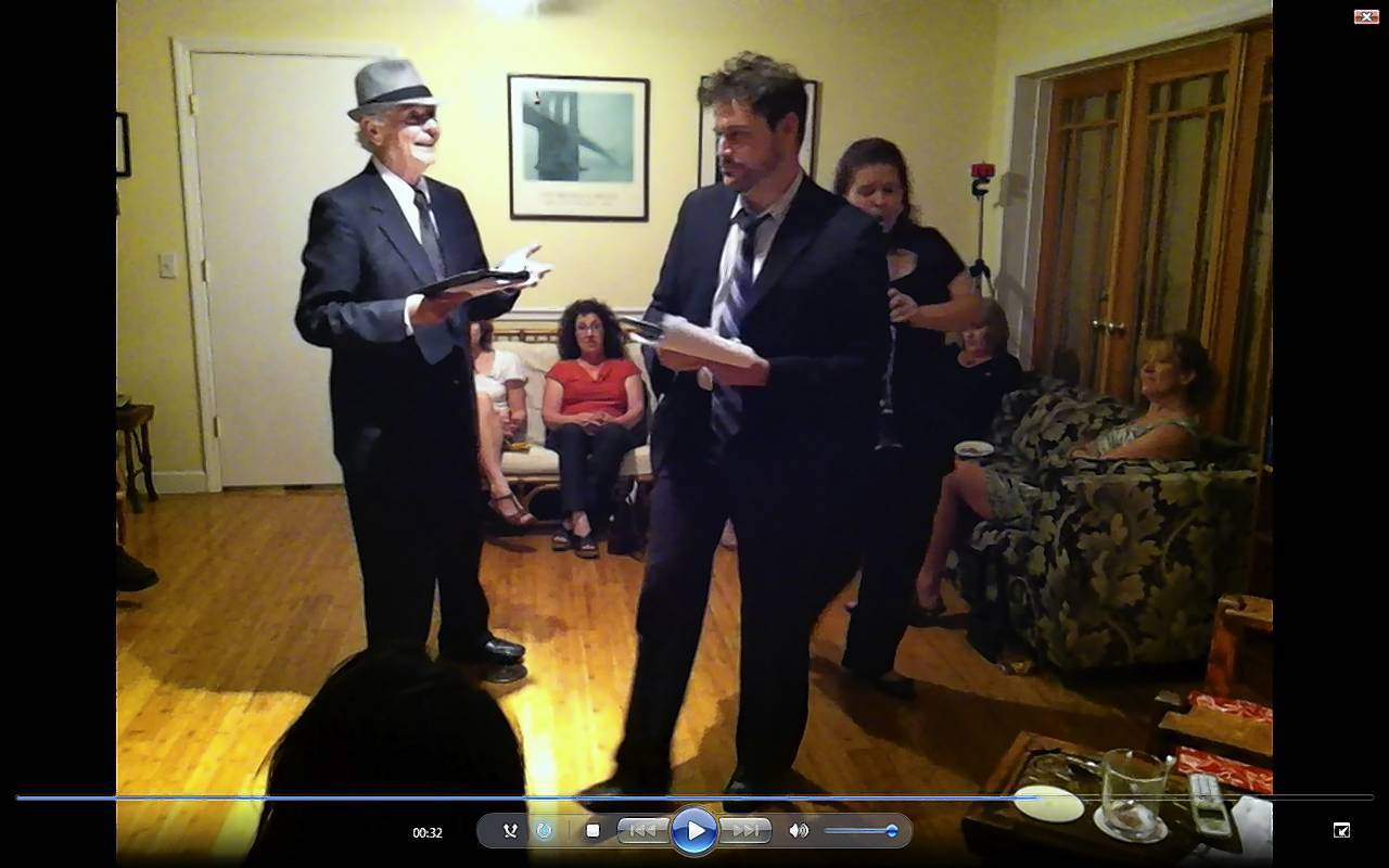 "Actors Adrian LePeltier (left) and Scott Silson, with musician Christine Barron, are seen via last Saturday's live-streaming webcast of ""A Little Crazy."""