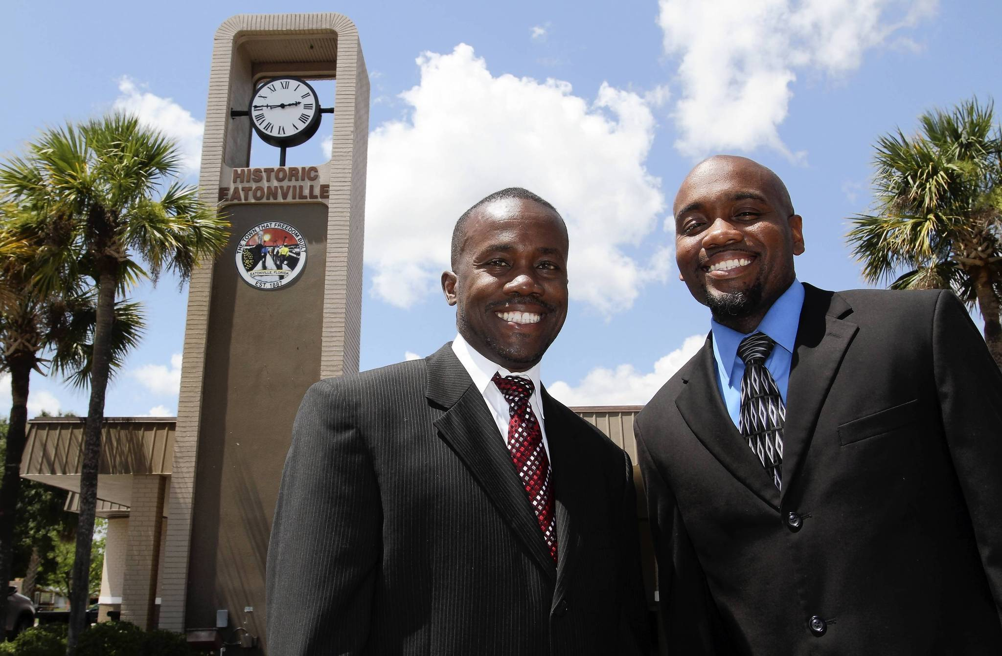 Left to Right, Eddie Cole and Rodney Daniels outside Eatonville Town Hall, on Friday, May 25, 2012.  Two decades ago, Eatonville resident Eddie Cole organized and led Every Kid Outreach, a youth enrichment program that sought to give Eatonville youth role models and the support they needed to start and maintain careers. One of those youths was Rodney Daniels, who describes Cole as a mentor. Today, the men sit next to each other in big black chairs every two weeks as members of Eatonvilles Town Council. The men are close, and Daniels isnt shy about discussing the positive effect Coles had on his life. (Ricardo Ramirez Buxeda / Orlando Sentinel)