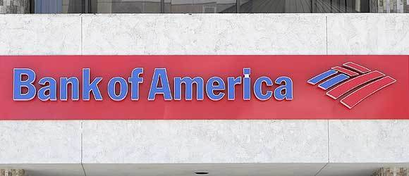 A sign is seen at a Bank of America branch in Pasadena, California.