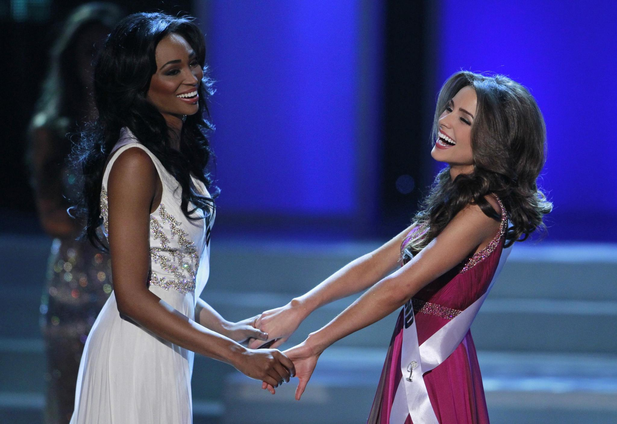 Miss Maryland USA Nana Meriwether, left, waits with Miss Rhode Island USA Olivia Culpo before Culpo was named Miss USA at the pageant in Las Vegas. Meriwether was the runner-up.