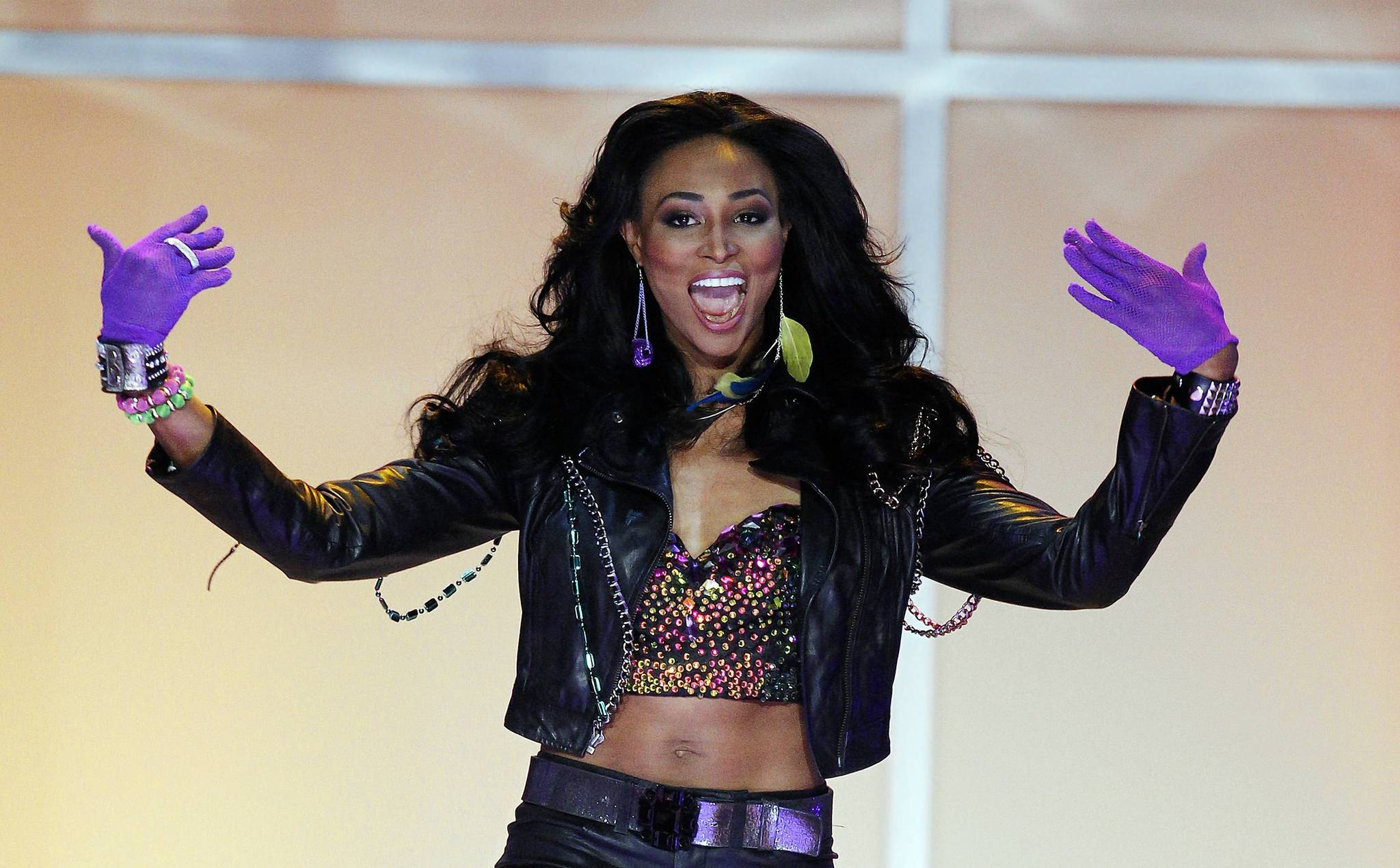 Miss Maryland USA Nana Meriwether participates in the opening fashion show of the 2012 Miss USA pageant at the Planet Hollywood Resort & Casino in Las Vegas.