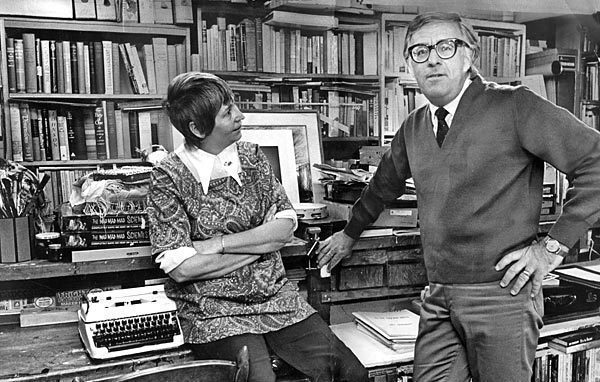"Ray Bradbury and his wife Marguerite, or ""Maggie,"" are shown at their home in 1970."