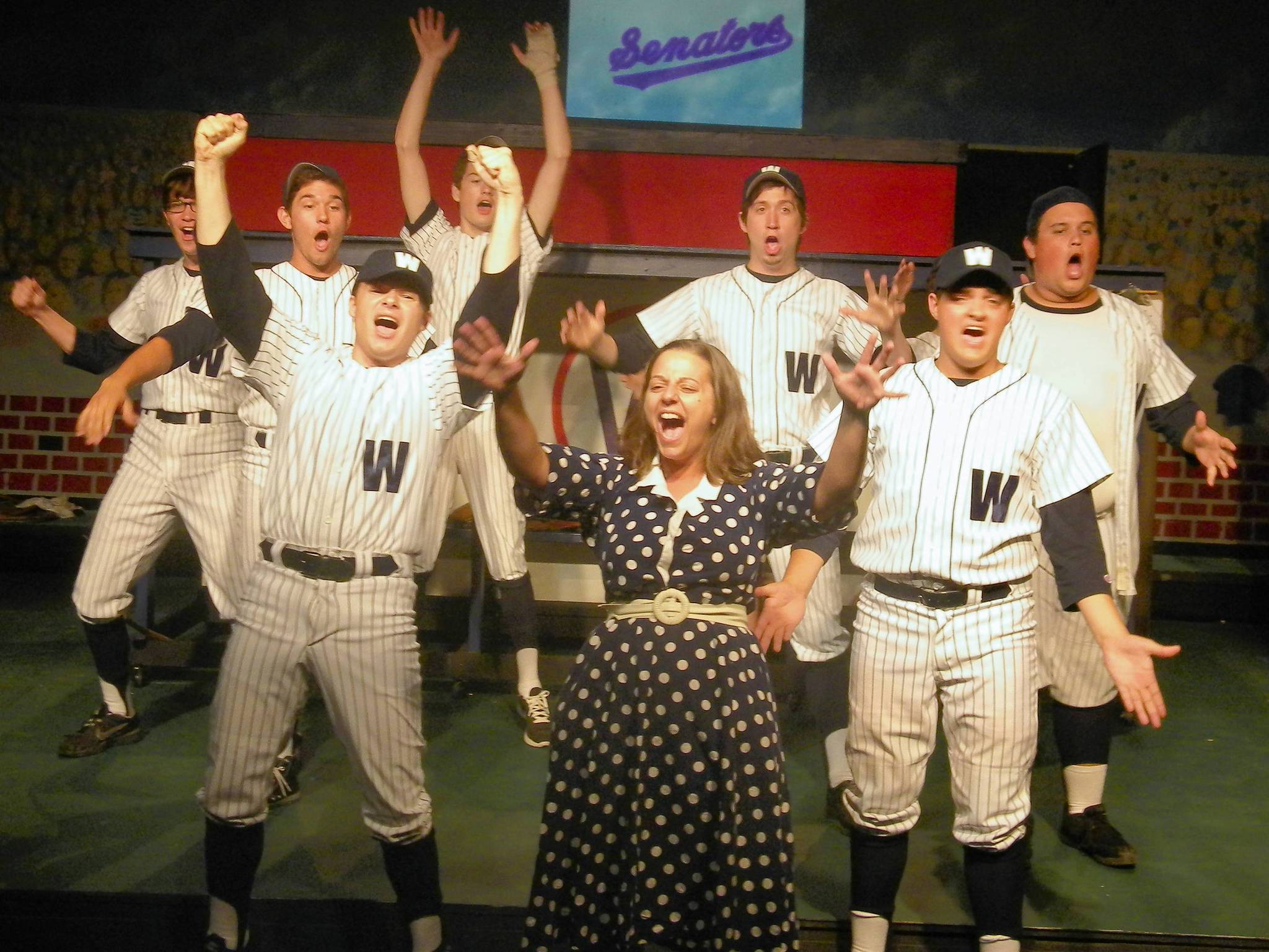 From left, cast of the Moonlight Players production of 'Damn Yankees,' Dexter Fortune, Spencer Sherman, Michael Kanago, Alex Dyon, Maryann Sarfino, Shane Alexander, Eric Hondel and Timothy Torres.