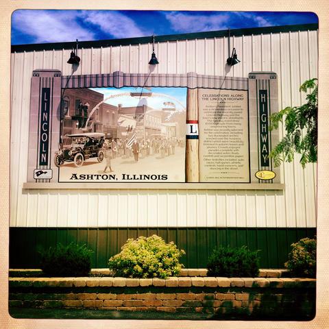 Lincoln Highway mural commemorating the Pavement Jubilee on Main Street in Ashton.