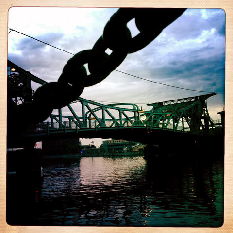 Cass Street Bridge, a bascule bridge, crosses the Des Plaines River on US 30 in Joliet.
