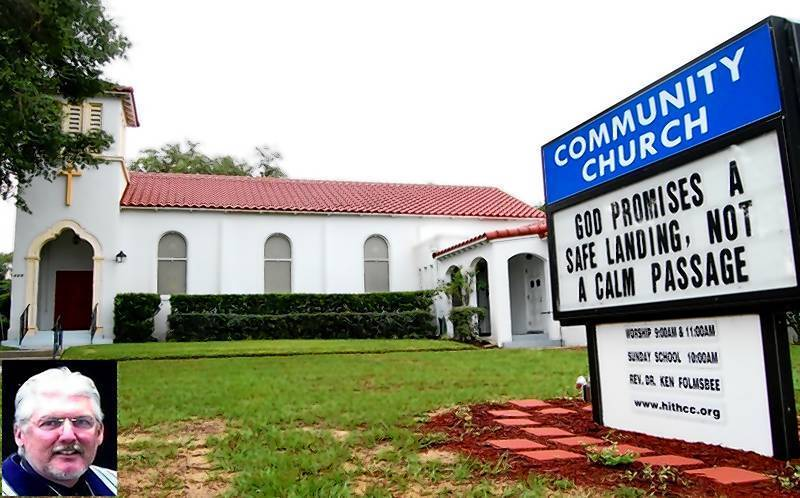 Photo of Howey Community Church, whose members split with the Presbyterian Church (USA) over differences with the church's support of the ordination of gay ministers and deacons. Inset, the Rev. Ken Folmsbee, who had been pastor of the church before it broke off.