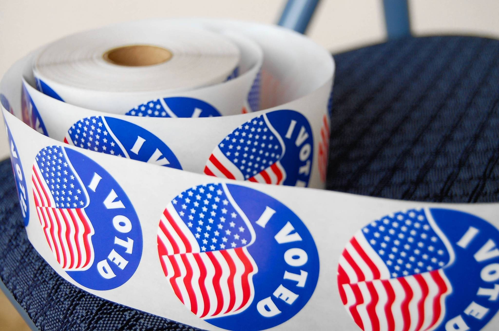 "Roll of ""I voted"" stickers for early voters at the Eustis Memorial Library."
