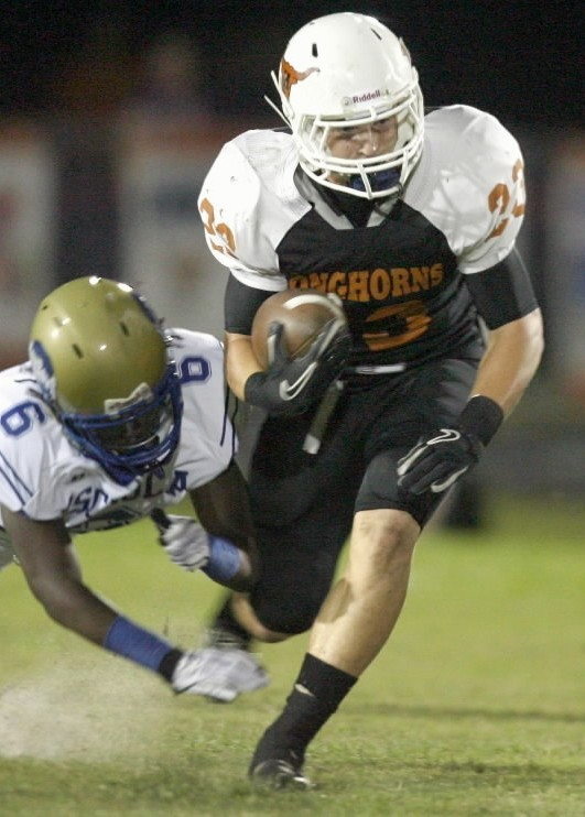 Riley Nicholson, know mostly as a linebacker, also played running back for Harmony during his freshman season.