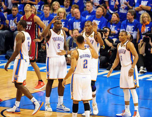 The Oklahoma City Thunder will try to go up 2-0 against the Miami Heat in the NBA Finals.