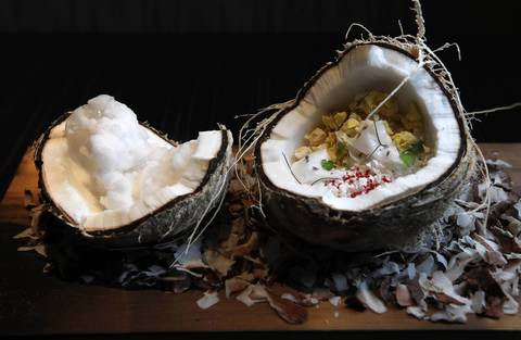 The coconut dessert at Next restaurant during August, 2011.