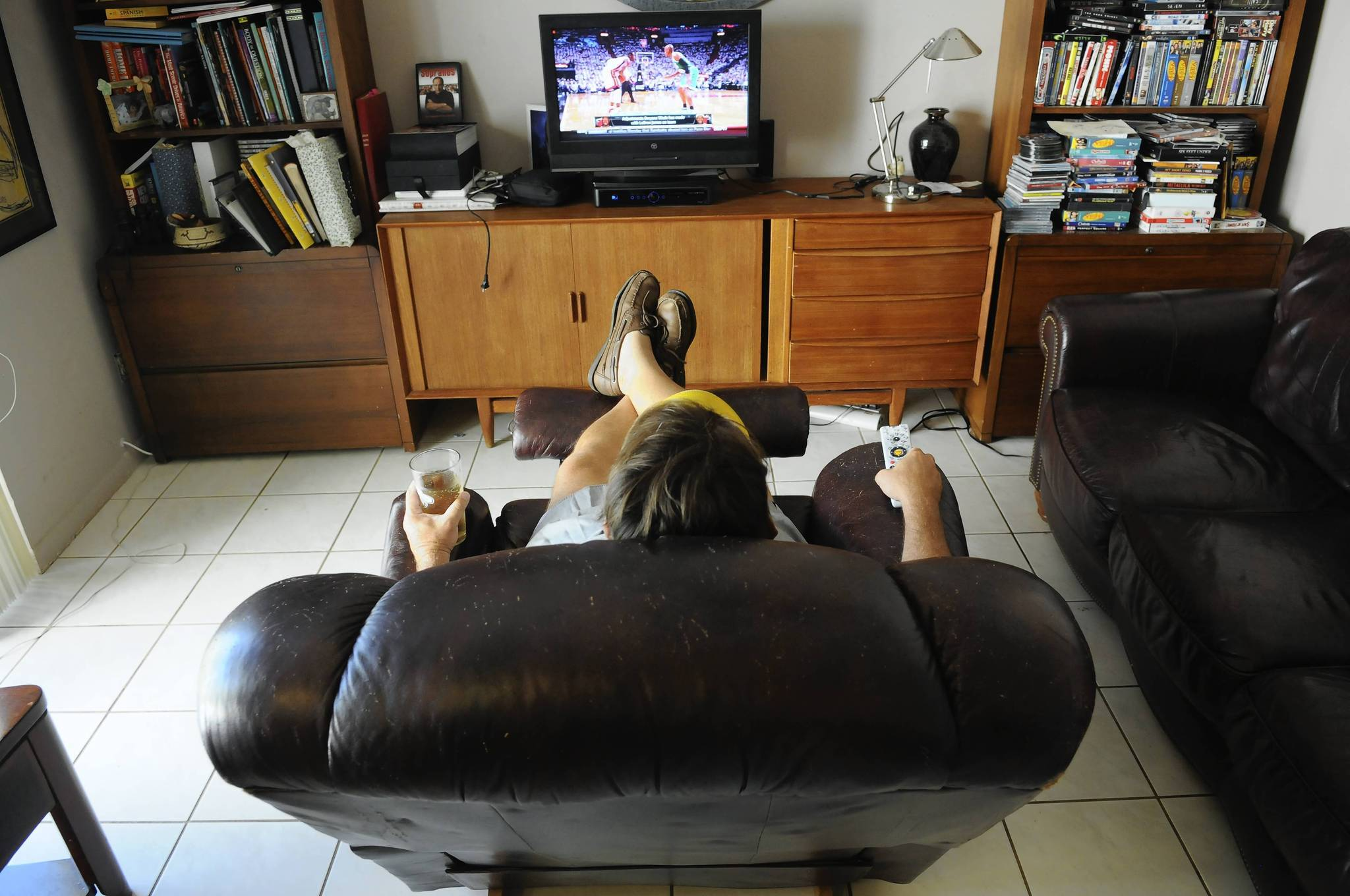 We don't have basements in South Florida, but we can create a mancave for the day. All you need is a big chair and a TV, then leave Dad alone with his remote control and favorite drink.