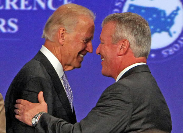Vice President Joe Biden, left, and Orlando Mayor Buddy Dyer share the stage Friday, June 15, 2012, during the U.S. Conference of Mayors convention at Universal Orlando.