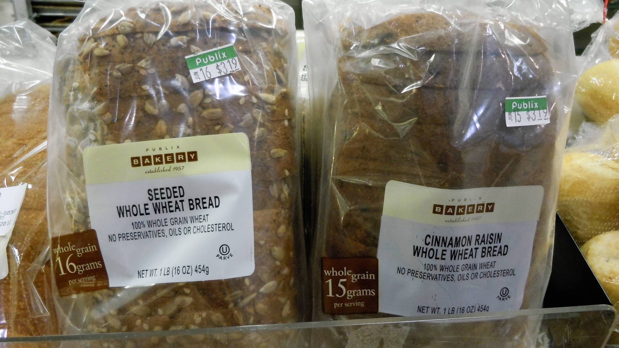 Loaves of hearty, healthy, reasonably priced whole wheat bread is available at many Publix Bakeries.