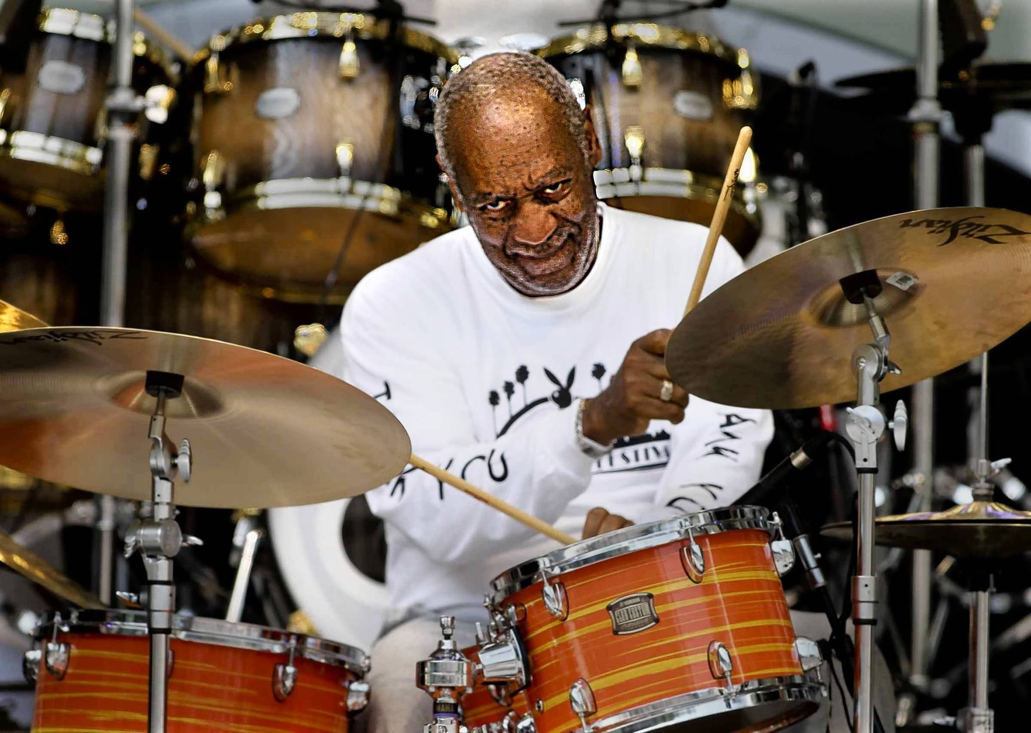 Bill Cosby plays drums with the Cos' of Good Music at the 2012 Playboy Jazz Festival at the Hollywood Bowl on June 16.