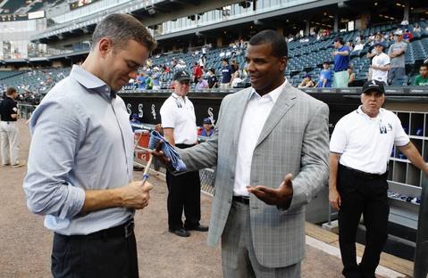 Cubs president of baseball operations Theo Epstein with White Sox GM Kenny Williams.