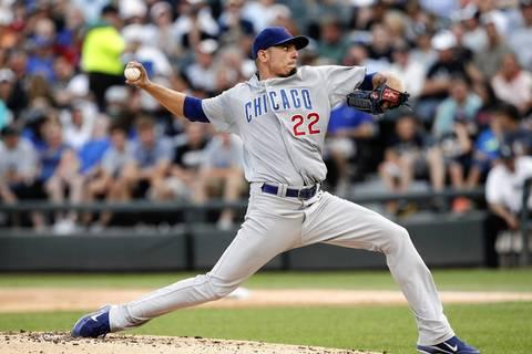 Cubs starter Matt Garza pitches to Gordon Beckham in the first inning.