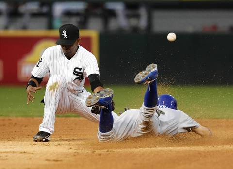 Tony Campana steals second base in front of Sox shortstop Alexei Ramirez during the fifth inning.