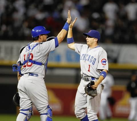 Geovany Soto and Tony Campana celebrate the 12-3 win over the Sox.