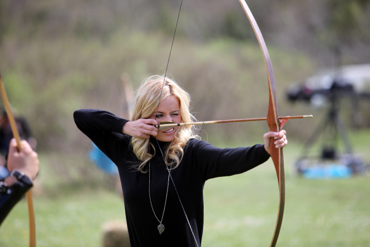 "Emily draws her bow and prepares to defend her honor on ""The Bachelorette."""