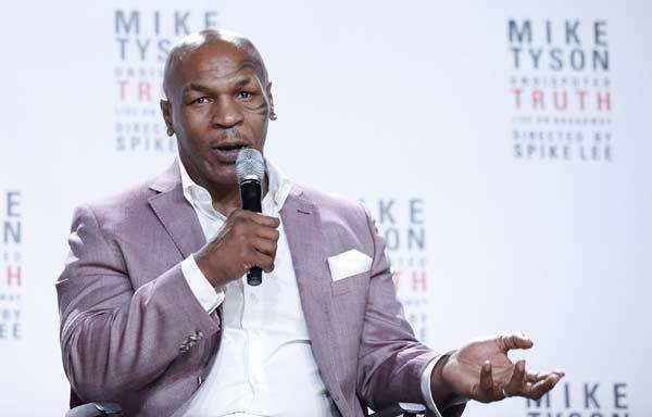 Mike Tyson speaks about Broadway's 'Mike Tyson: Undisputed Truth' at a press conference.