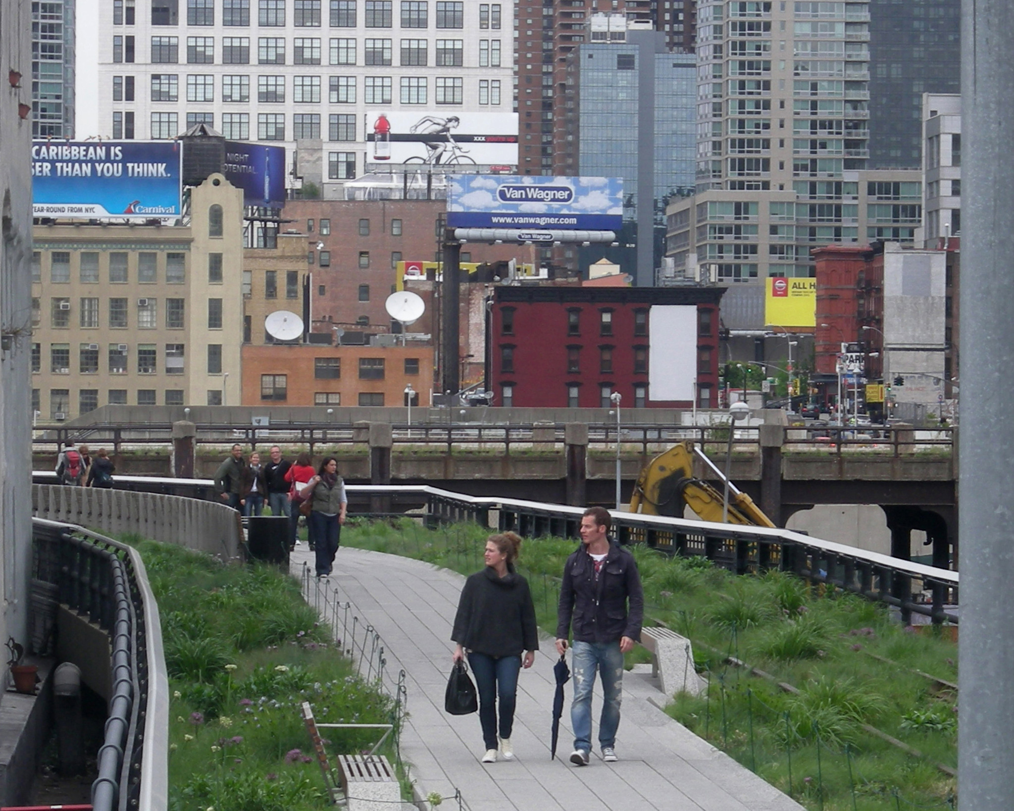 Grassy areas have been added along the High Line Trail in New York City.