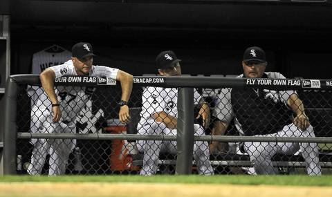 Joe McEwing, Robin Ventura and Mark Parent watch the action during a 2-1 loss to the Cubs.