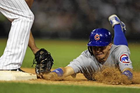 Tony Campana is picked off first base by Sox starter Jake Peavy in the 8th inning.