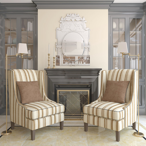 Vary surfaces by incorporating hard glass finishes with soft upholstered pieces, shiny objects, and punches of color and metal.